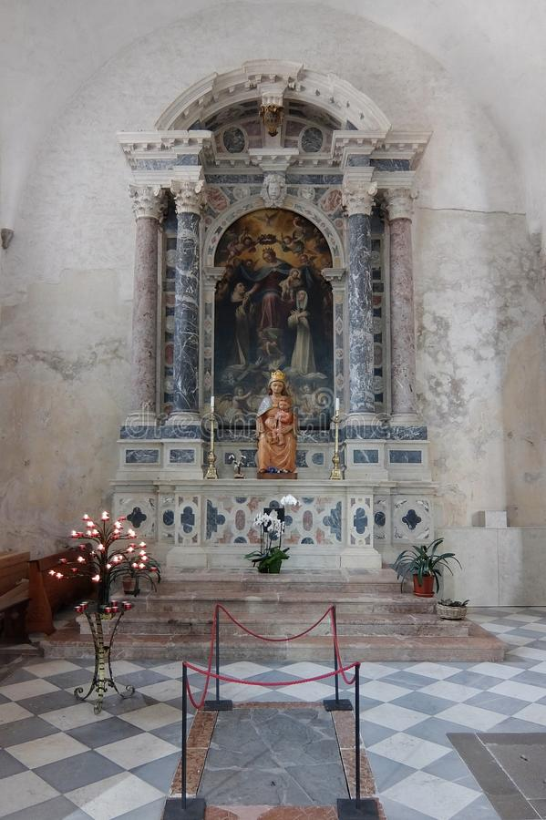 Interiors of Saint Andrew Cathedral, Venzone, Italy royalty free stock images