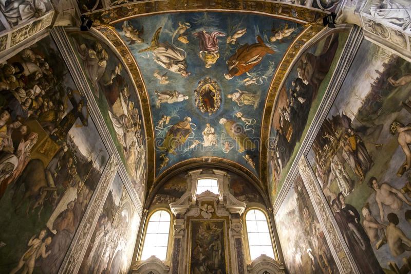 Interiors San Frediano basilica, Lucca, Italy. LUCCA, ITALY, JUNE 04, 2016 : interiors and architectural details of san Frediano basilica, june 04, 2016 in Lucca royalty free stock images
