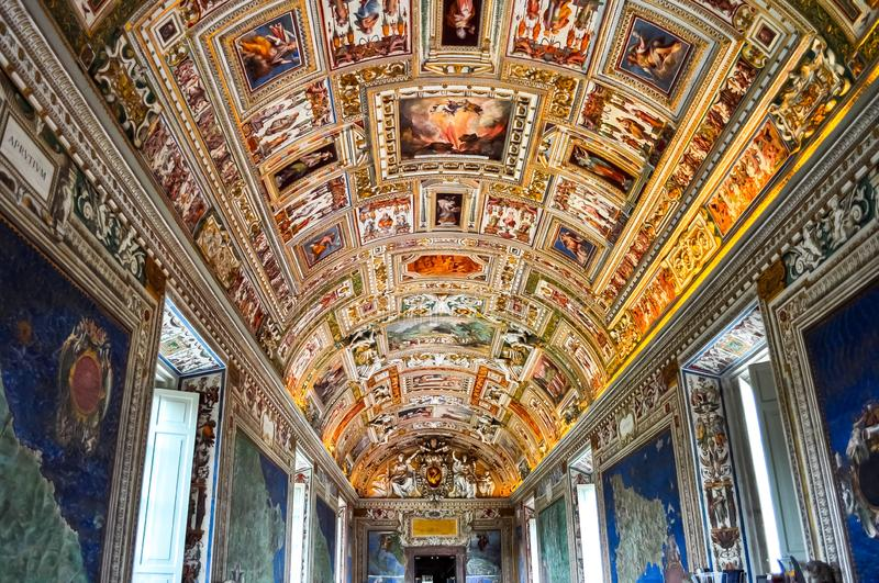 Interiors of Vatican museum. In center of Rome royalty free stock photo