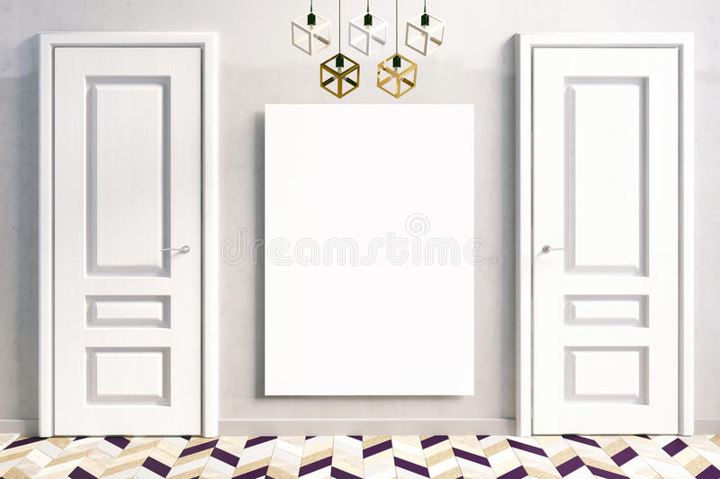 Interiors with white doors. 3D illustration. royalty free illustration