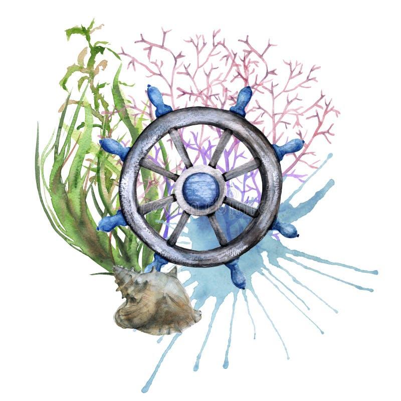 Interiortransportation del manejo wheel Aislado en el fondo blanco stock de ilustración