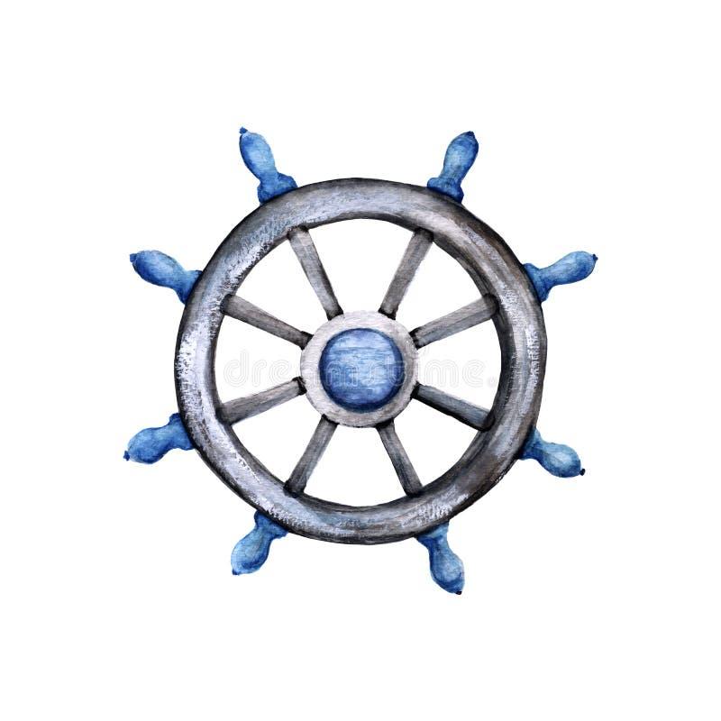 Interiortransportation del manejo wheel Aislado en el fondo blanco ilustración del vector