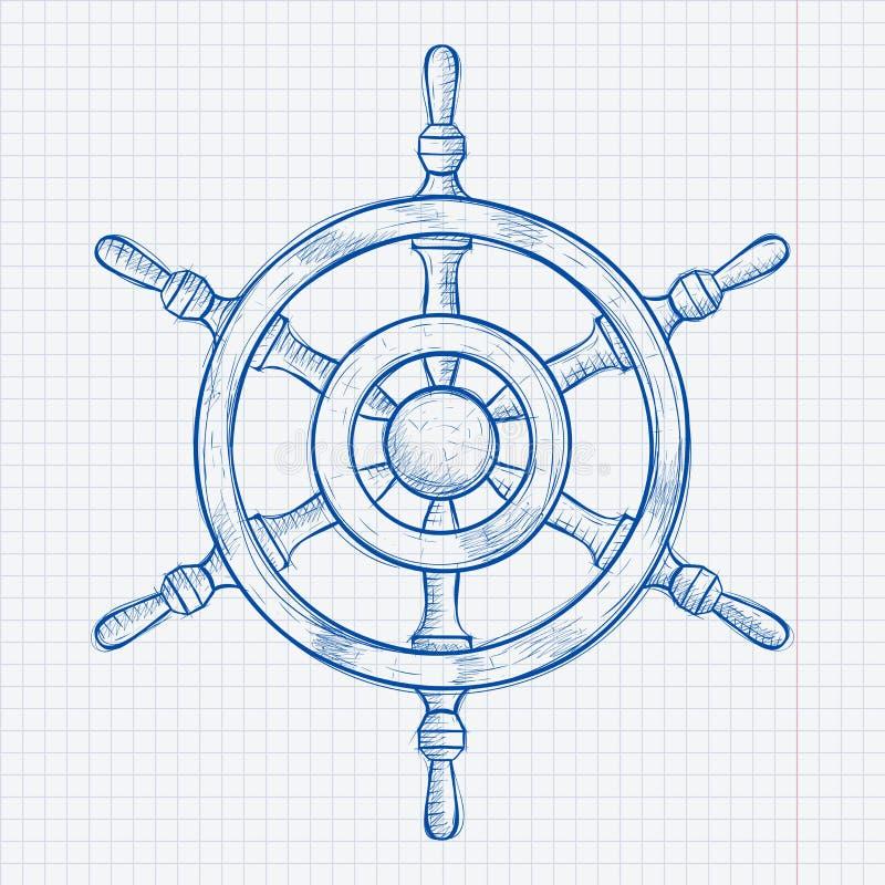 Interiortransportation del manejo wheel Bosquejo dibujado mano azul en fondo de papel alineado libre illustration