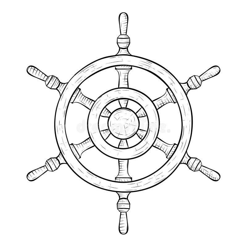 Interiortransportation del manejo wheel Bosquejo drenado mano stock de ilustración