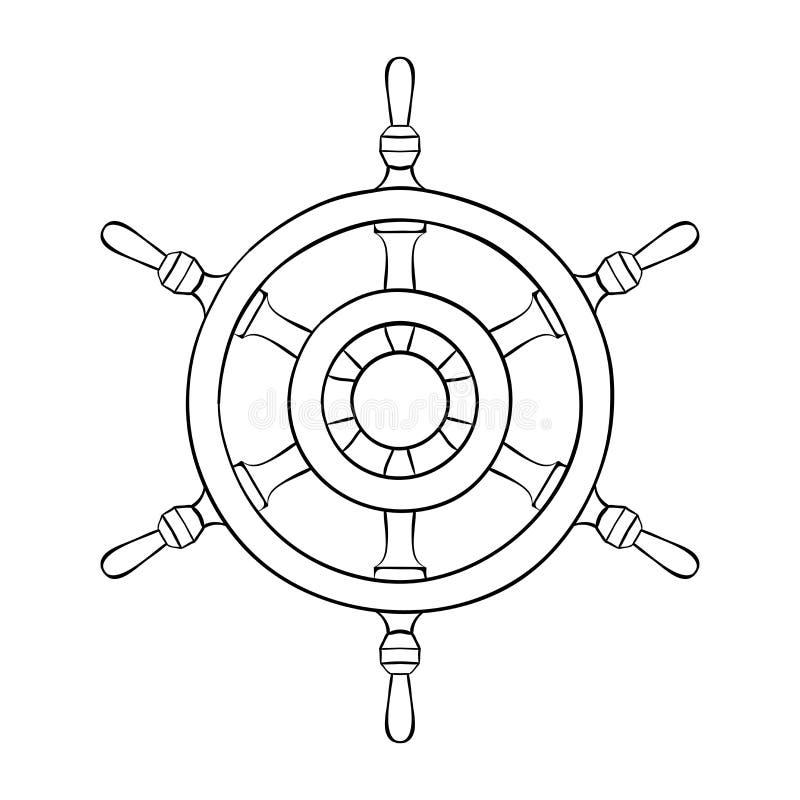 Interiortransportation del manejo wheel Dibujo de esquema stock de ilustración