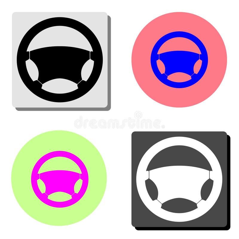 Interiortransportation del manejo wheel Icono plano del vector ilustración del vector