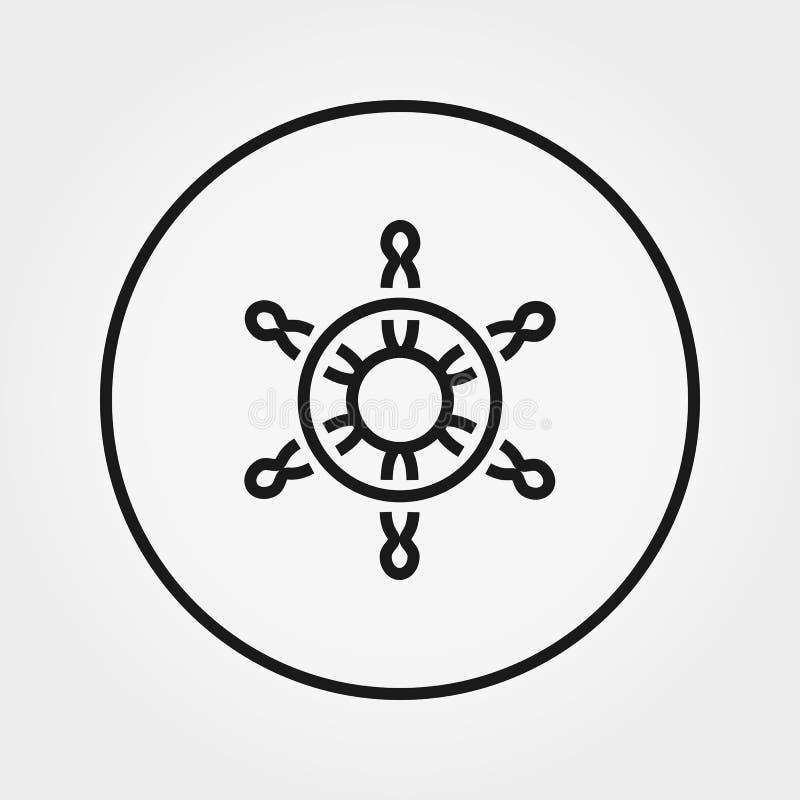 Interiortransportation del manejo wheel Icono universal Vector L?nea fina stock de ilustración