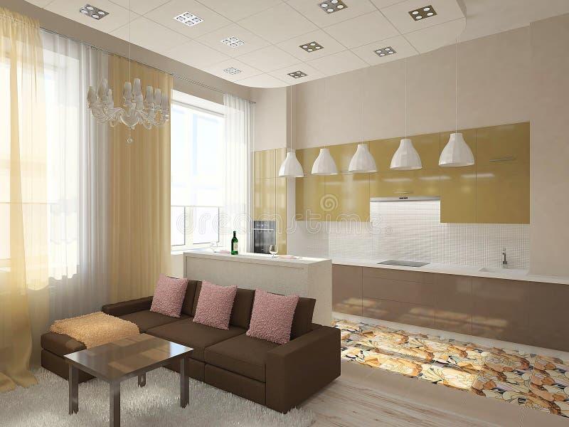 interiorvardagsrum för bild 3d stock illustrationer