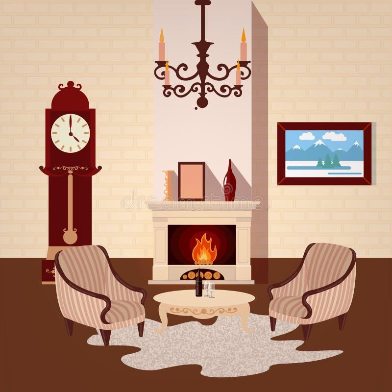 interiorvardagsrum för bild 3d Ruminre med tappningljuskronan stock illustrationer