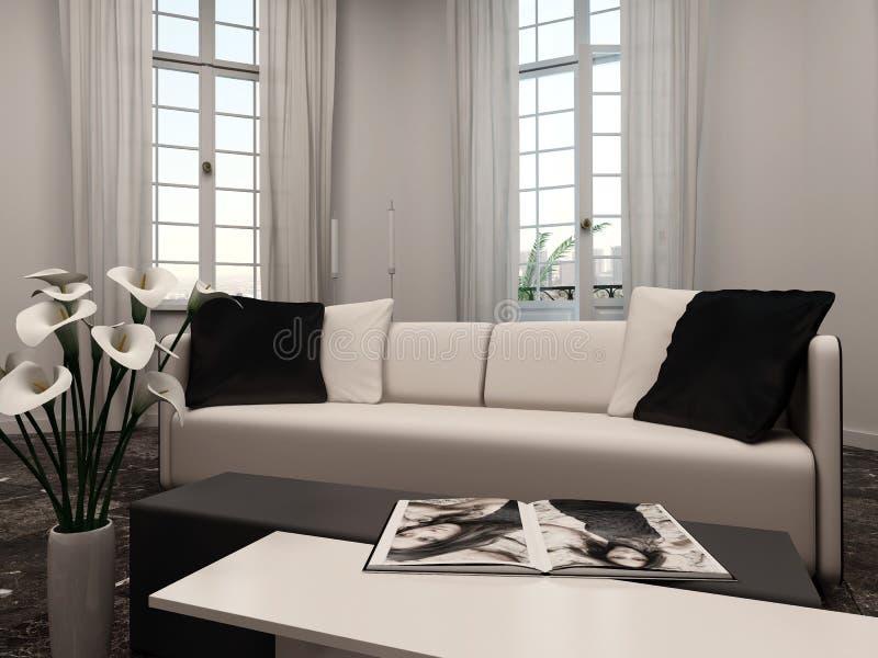Interiow de salon avec la fenêtre en saillie et le divan illustration libre de droits