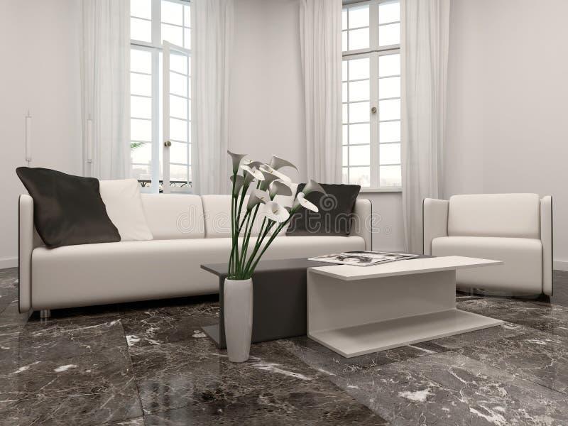 Interiow de salon avec la fenêtre en saillie et le divan illustration stock