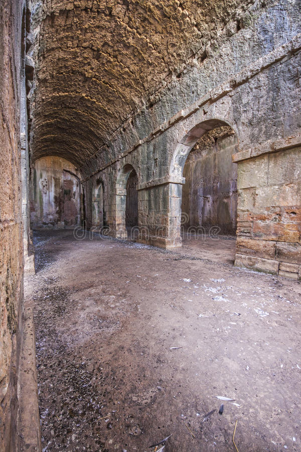 Interiro of three part vaulted cistern at Aptera, Creta of public baths at Aptera, Crete royalty free stock photos