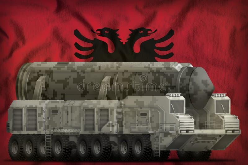 Interkontinental ballistisk missil med stadskamouflage på den Albanien nationsflaggabakgrunden illustration 3d royaltyfri foto