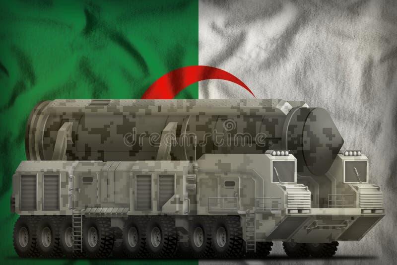 Interkontinentalballistische rakete mit Stadttarnung auf dem Algerien-Staatsflaggehintergrund Abbildung 3D vektor abbildung