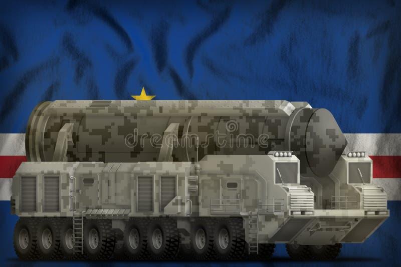 Interkontinentalballistische rakete mit Stadttarnung auf dem Staatsflaggehintergrund Cabo Verde Abbildung 3D stock abbildung