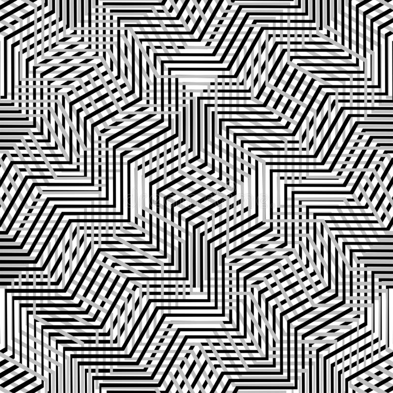Interlace, interlocking lines. Curve, flex intersecting lines grid, mesh. Interweaved waving, zig-zag lines. Combined, merging. Lines, stripes pattern stock illustration