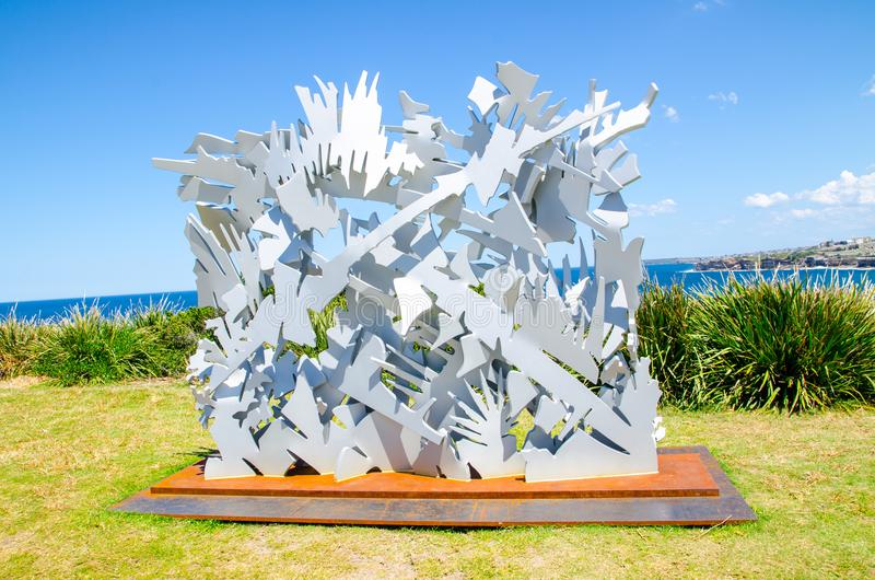 ` Interlace ` is a sculptural artwork by Albert Paley at the Sculpture by the Sea annual events free to the public sculpture. SYDNEY, AUSTRALIA. – On royalty free stock photo