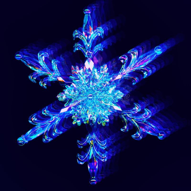 Interlaced snowflake with digital glitch and distortion effect. Interlaced snowflake with digital glitch effect. Futuristic cyberpunk design. Retro futurism royalty free stock photos