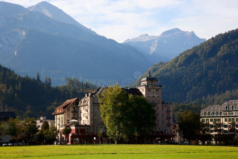 Interlaken en Jungfrau stock foto
