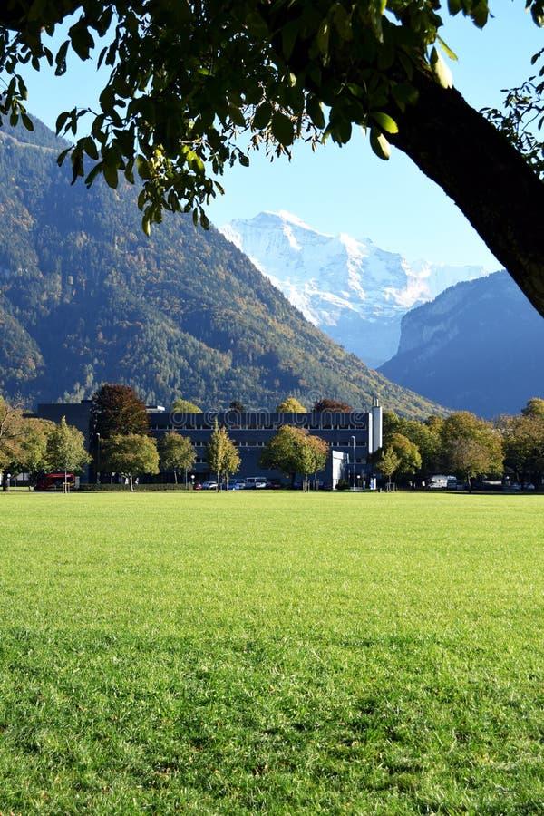 Interlaken, Zwitserland, A drie, gazontuin, de bouw en bergen stock foto's