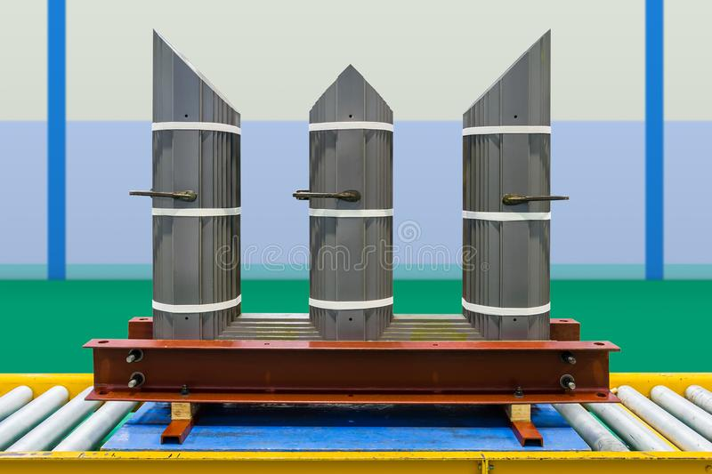 Interleaved step lap core of three phase transformer. In assembly line made of cold rolled grain oriented CRGO steel stock photo