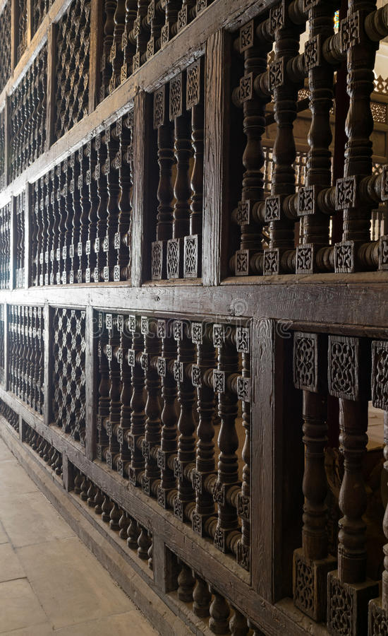 An interleaved wooden ornaments in a historic mosque, royalty free stock image