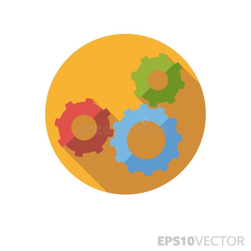 Interlinked gears flat design long shadow color vector icon vector illustration