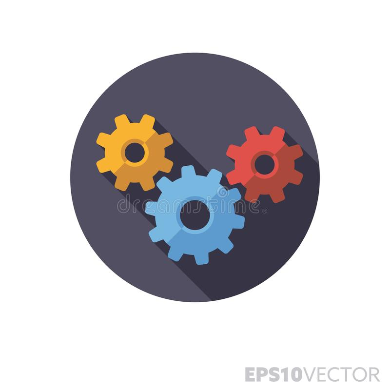 Interlinked gears flat design long shadow color vector icon stock illustration