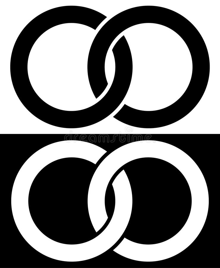 Interlocking circles, rings abstract icon. Connection concept ic royalty free illustration