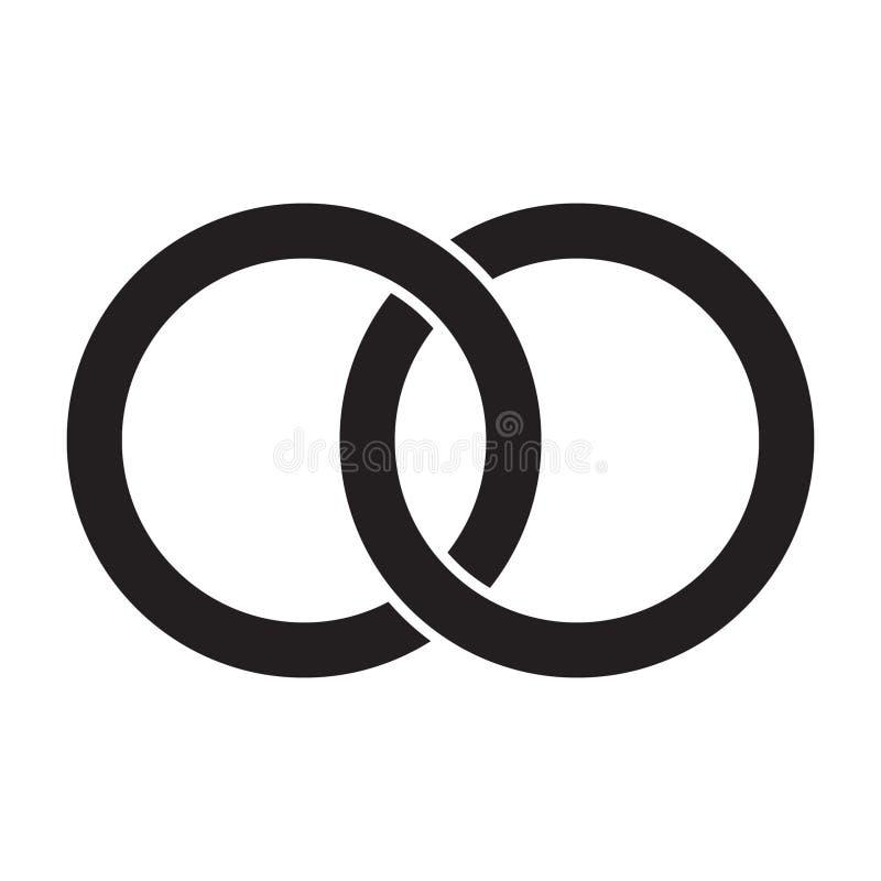 Interlocking circles, rings contour. Circles, rings concept icon vector illustration
