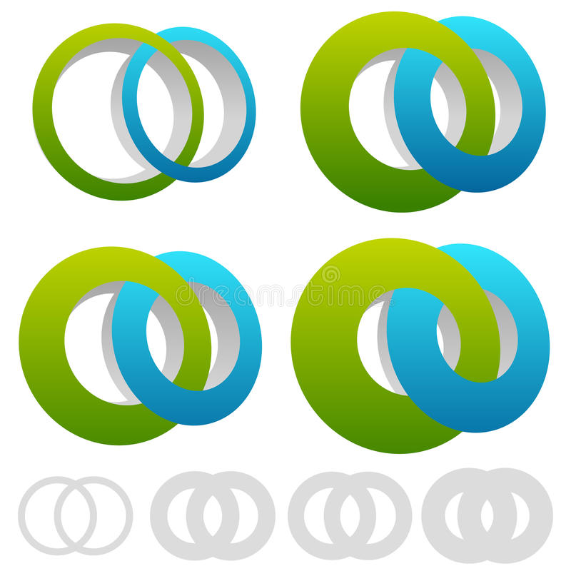 Interlocking circles, rings. Infinite symbol or logo with differ. Ent line widths - Royalty free vector illustration royalty free illustration