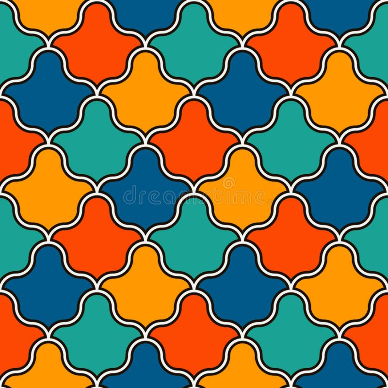 Interlocking figures tessellation background. Repeated geometric shapes. Ethnic mosaic ornament. Oriental wallpaper stock illustration