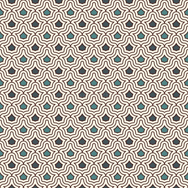 Interlocking figures tessellation background. Repeated geometric shapes. Ethnic mosaic ornament. Oriental wallpaper. Interlocking figures tessellation abstract royalty free illustration