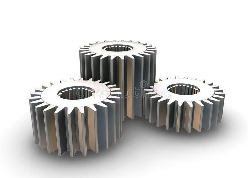 Interlocking gears stock illustration
