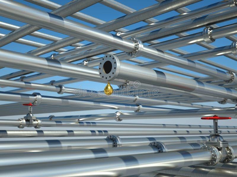 Interlocking pipes with valves vector illustration