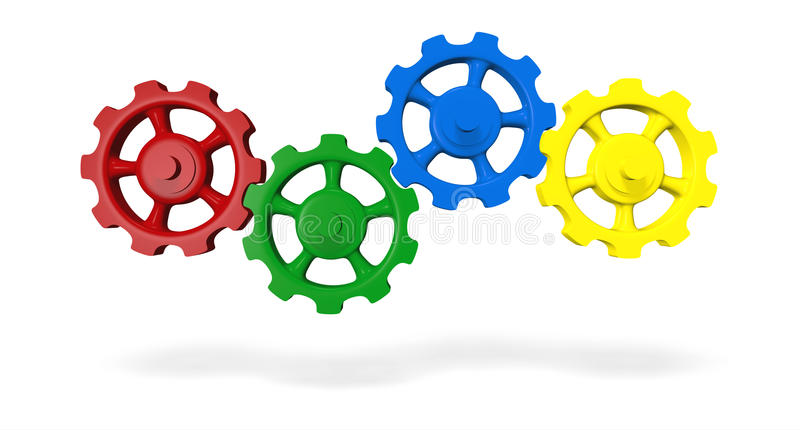 Cog wheels. Interlocking red, green, blue and yellow cog wheels isolated on white background stock illustration