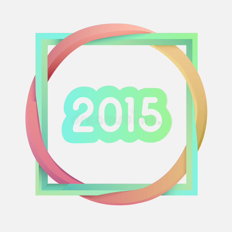 Interlocking square and circle with 2015 vector illustration