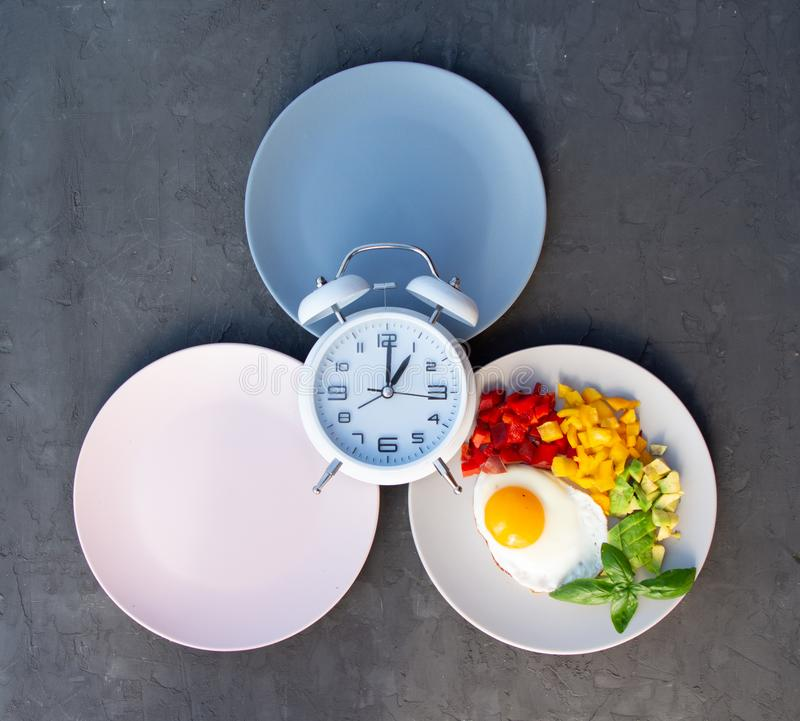 Intermittent fasting concept with empty colorful plates. Time to lose weight , eating control or time to diet concept. Intermittent fasting concept with empty stock photo