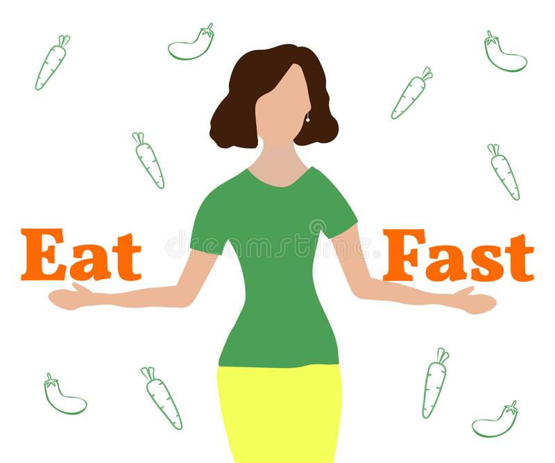 Intermittent fasting concept. Girl, holding two words Fast and Eat.Vector Illustration royalty free illustration