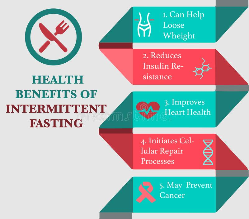 Intermittent Fasting infographic. Health Benefits Of Intermittent Fasting infographic with sample data. Vector Illustration royalty free illustration