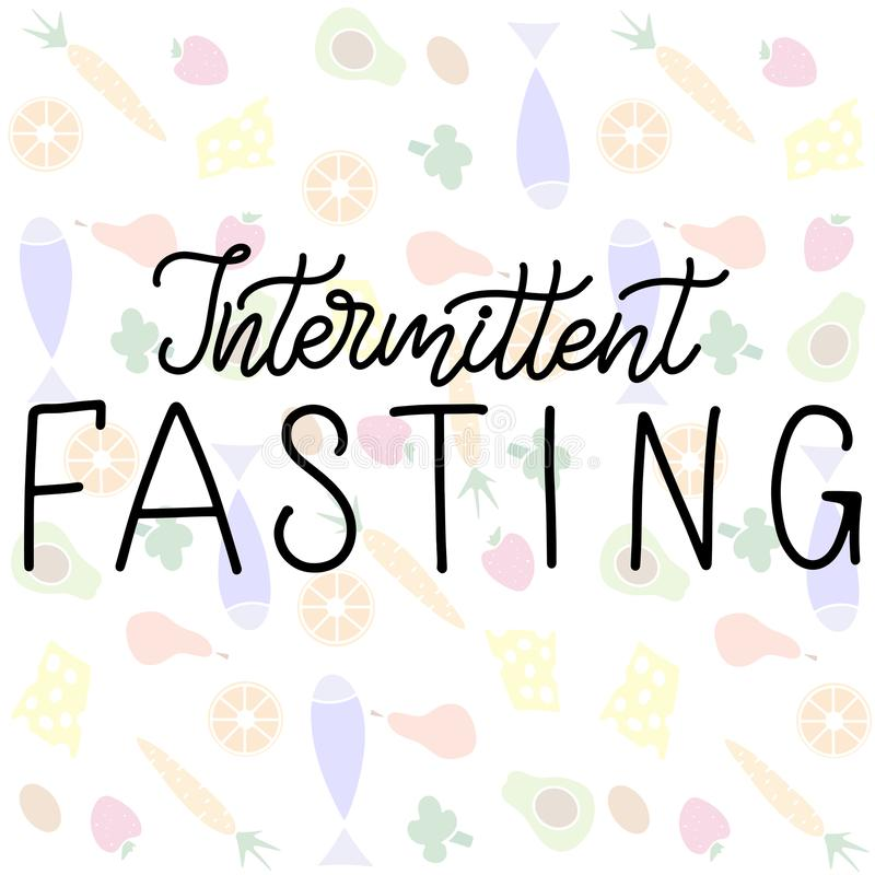Intermittent Fasting lettering vector illustration. Intermittent Fasting inscription with icon of clock like plate with knife and fork. Weight loss and healthy stock illustration