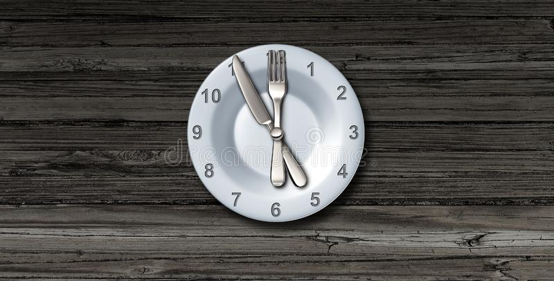 Intermittent Fasting. And calorie restriction or autophagy diet symbol nutrition concept promoting healthy benefits for prolonging lifespan with a clock icon on royalty free illustration