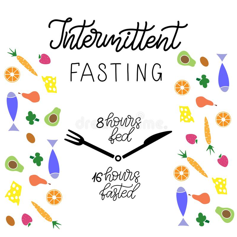 Intermittent Fasting lettering vector illustration. Intermittent Fasting inscription with icon of clock like plate with knife and fork. Weight loss and healthy vector illustration