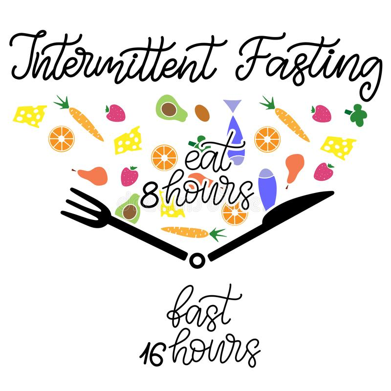 Intermittent Fasting lettering vector illustration. Intermittent Fasting inscription with icon of clock like plate with knife and fork. Weight loss and healthy royalty free illustration