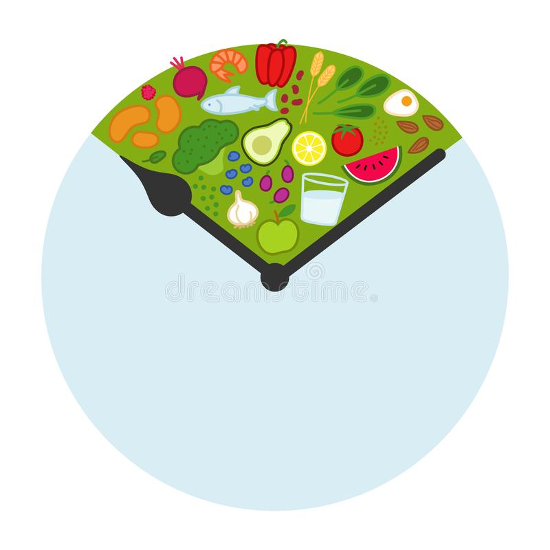 Intermittent fasting, time-restricted eating. Healthy foods between clock hands, daily eating window, fasting period, weight loss. Icon isolated on white stock illustration