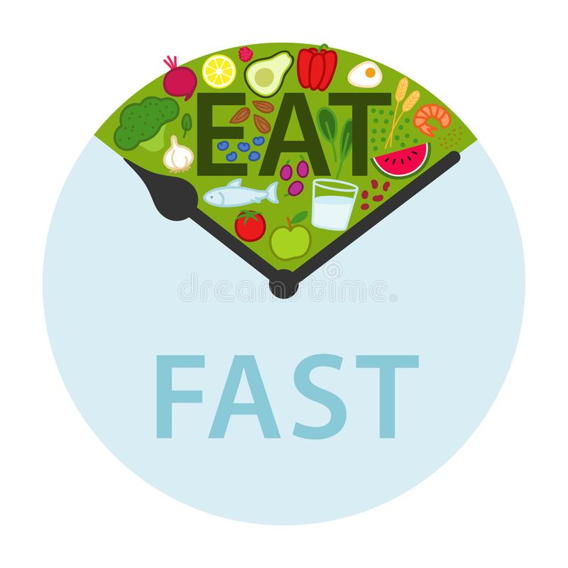 Intermittent fasting, time-restricted eating. Healthy foods between clock hands, daily eating window, fasting period, weight loss. Isolated on white background vector illustration