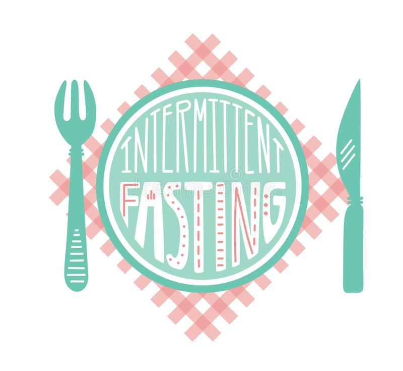 Vector illustration Intermittent Fasting with hand lettering. Intermittent Fasting. Vector illustration of a plate on red checkered table napkin with a fork and stock illustration
