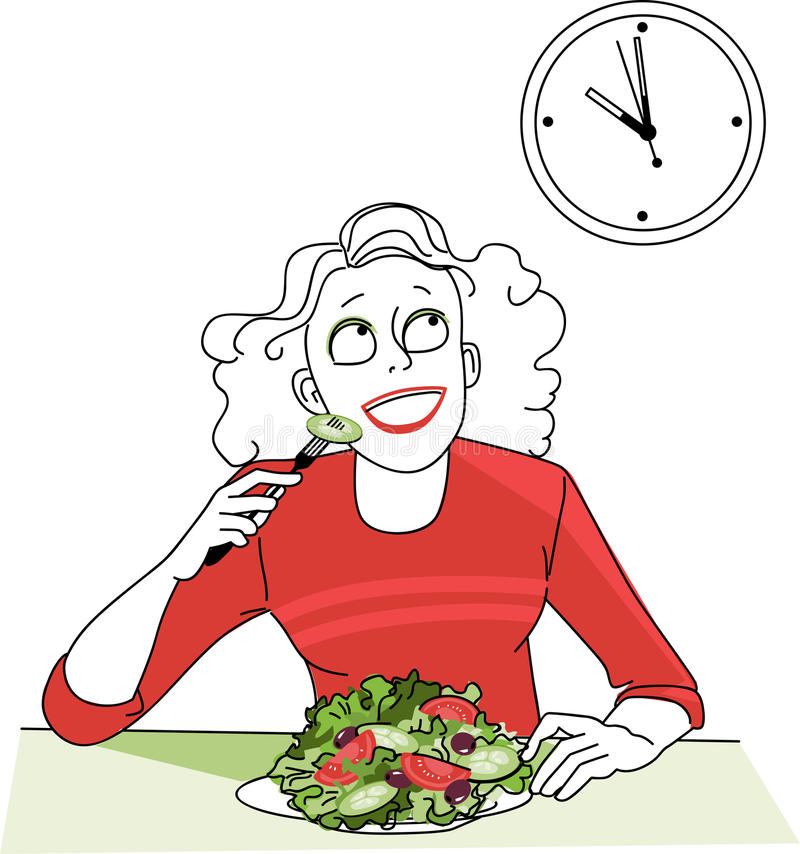 Intermittent fasting. Woman, practicing intermittent fasting, looking at the clock, waiting for a time to start eating, EPS 8 vector illustration vector illustration