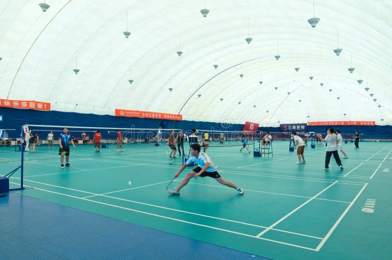 intern badmintonkorridor arkivfoton
