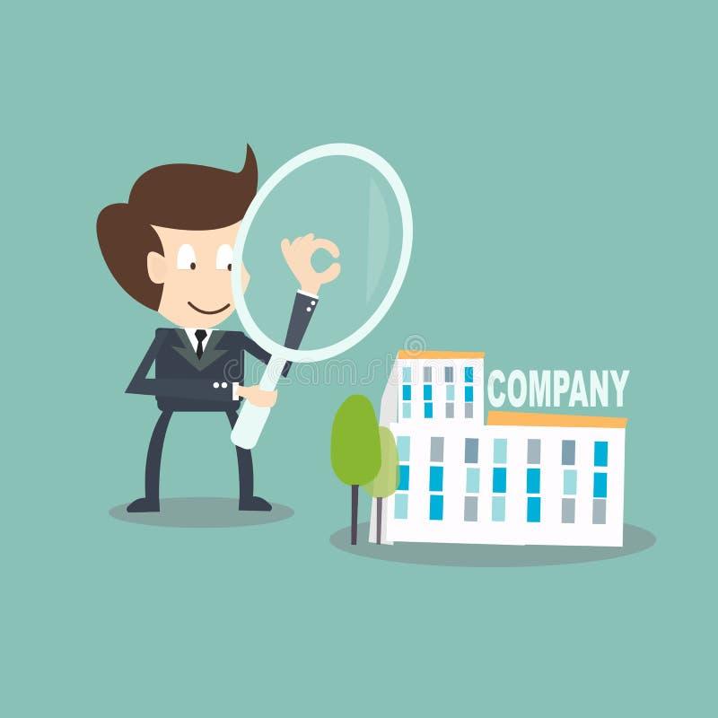 Intern Controleconcept - zakenman met het overdrijven controle op bedrijf royalty-vrije illustratie